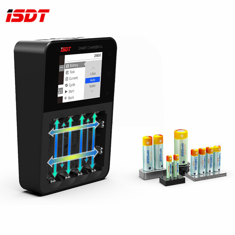 Original ISDT C4 8A Touch Screen Smart Battery Charger with Screen With USB Output For 18650 26650 AA AAA Battery For RC Models