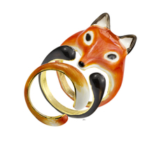 Gorgeous Tale Trio Enamel Red Women's Fox Ring Set Zootopia Anime Jewelry Gold Color Stackable Rings For Men 3 Pcs