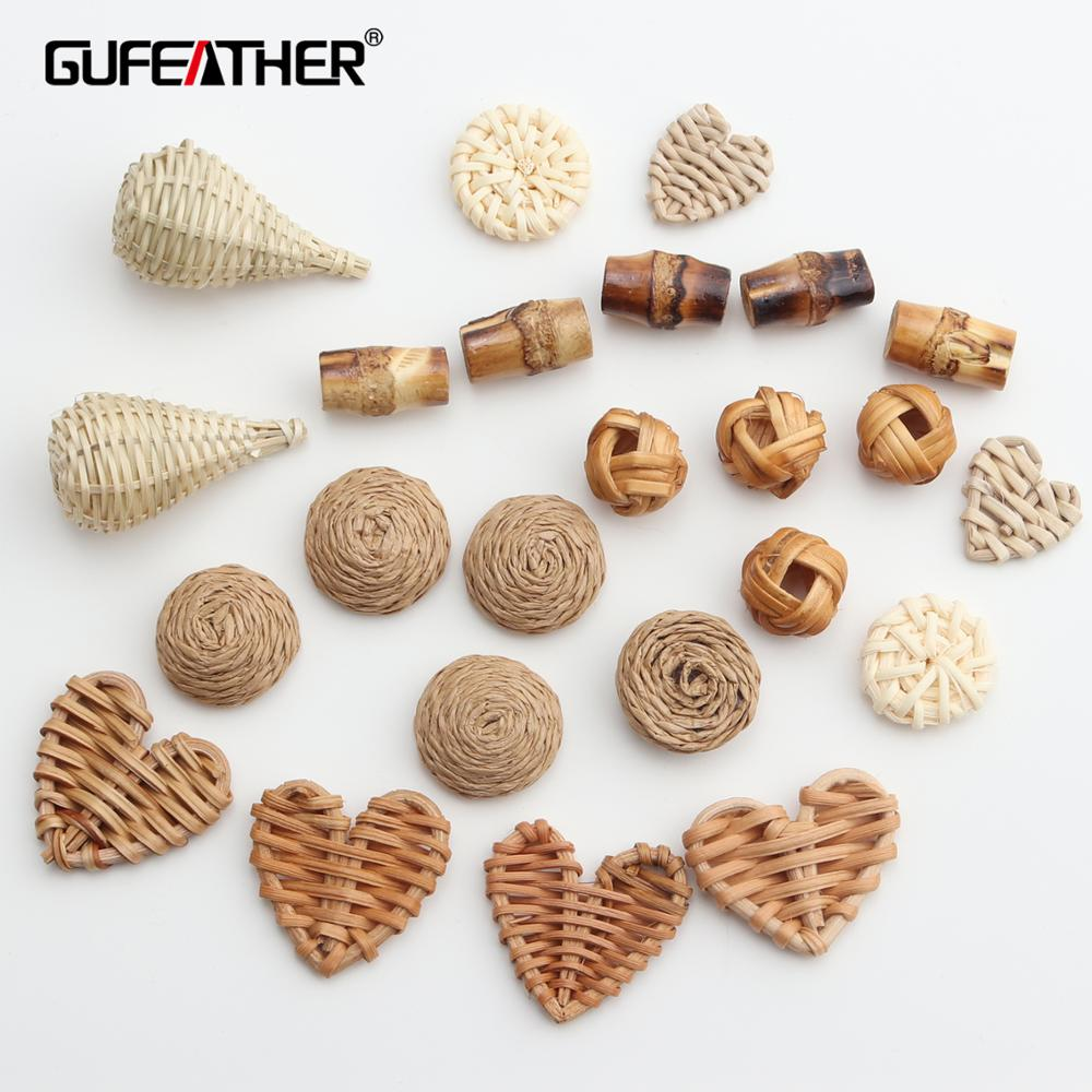 Charms Jewelry-Accessories Diy Earrings Rattan Bamboo Hand-Made M388 Natural 10pcs/Lot title=