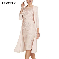 Summer Autumn Dress Women 2019 Casual Plus Size Slim Office Bodycon Dresses Sexy Elegant Hollow Out Lace Party Dress Cloak Set