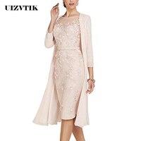 Summer Autumn Dress Women 2019 Casual Plus Size Slim Office Bodycon Dresses Sexy Elegant Hollow Out Lace Party Dress Cloak Set
