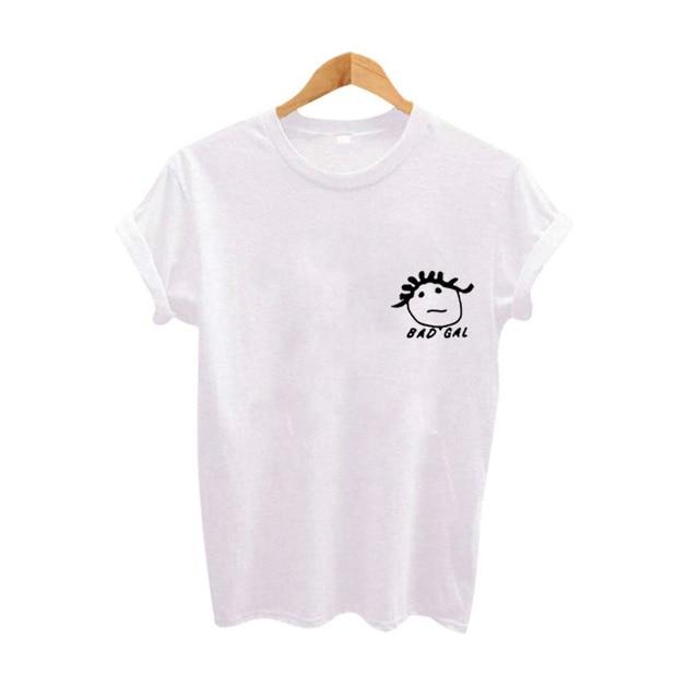 10c29caed9 Tumblr Hipster Harajuku T-shirt Bad Girl Graphic Tees Women Tops Funny T  Shirts Summer Fashion Girls Cotton Tshirt White Black