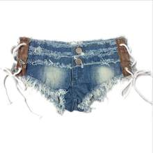 2019 Nieuwe Aangekomen Zomer Cowgirl Shorts Sexy Lage Taille Bandage Metalen Likdoorns Lace-Up Jeans Mode Nachtclub Vrouwen Denim shorts D52(China)