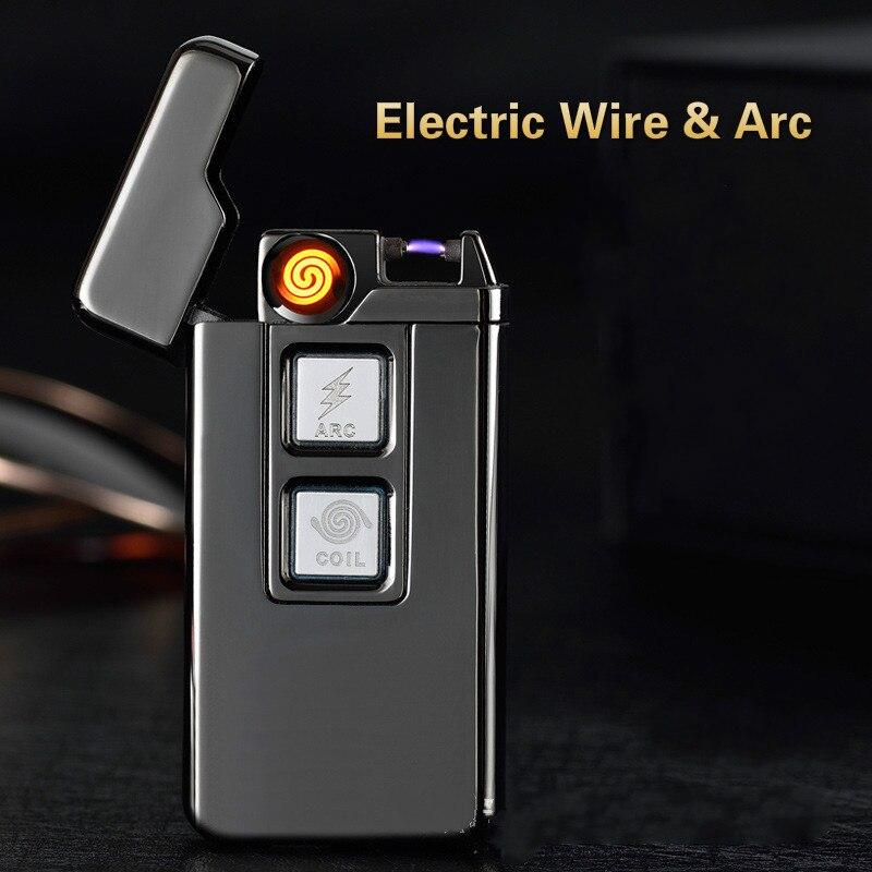 Carga Usb Tesla bobina y arco más ligero USB electrónicos personalidad a prueba de viento encendedores novedad cigarrillo eléctrico más ligero