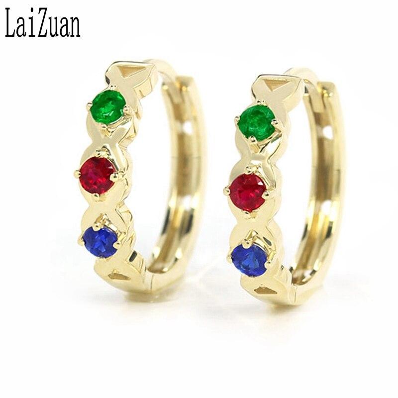 LaiZuan véritable or jaune 18K certifié rond 0.3ct 100% véritable émeraude naturelle, rubis, saphir boucles d'oreilles bijoux élégant cadeau