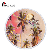 Miracille 150cm Beach Coconut Tree Style Soft Quick dry Multicolored Round Beach Towel For Adults Travel Yoga