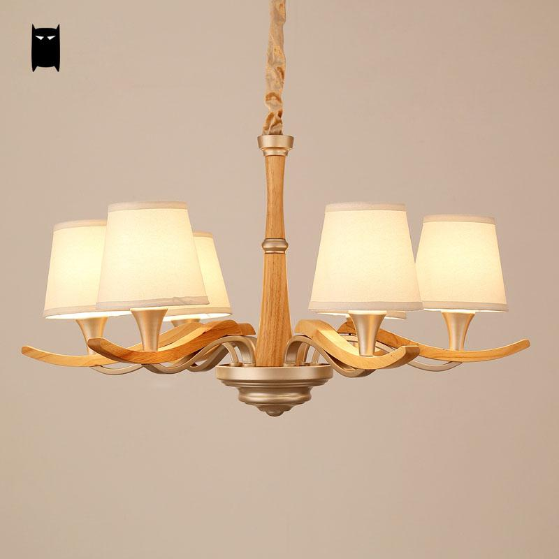 3/6/8 Arms Oak Wood Fabric Shade Chandelier Light Chain Fixture Nordic Style Art Deco Lustre Lamp Design Living Room Bedroom