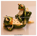Gorgeous Miniature 2 Frogs Jewelled Box Jewelry Box with Inlaid Crystal, Pill Box Figurine Green Frogs Jewelry Trinket Box