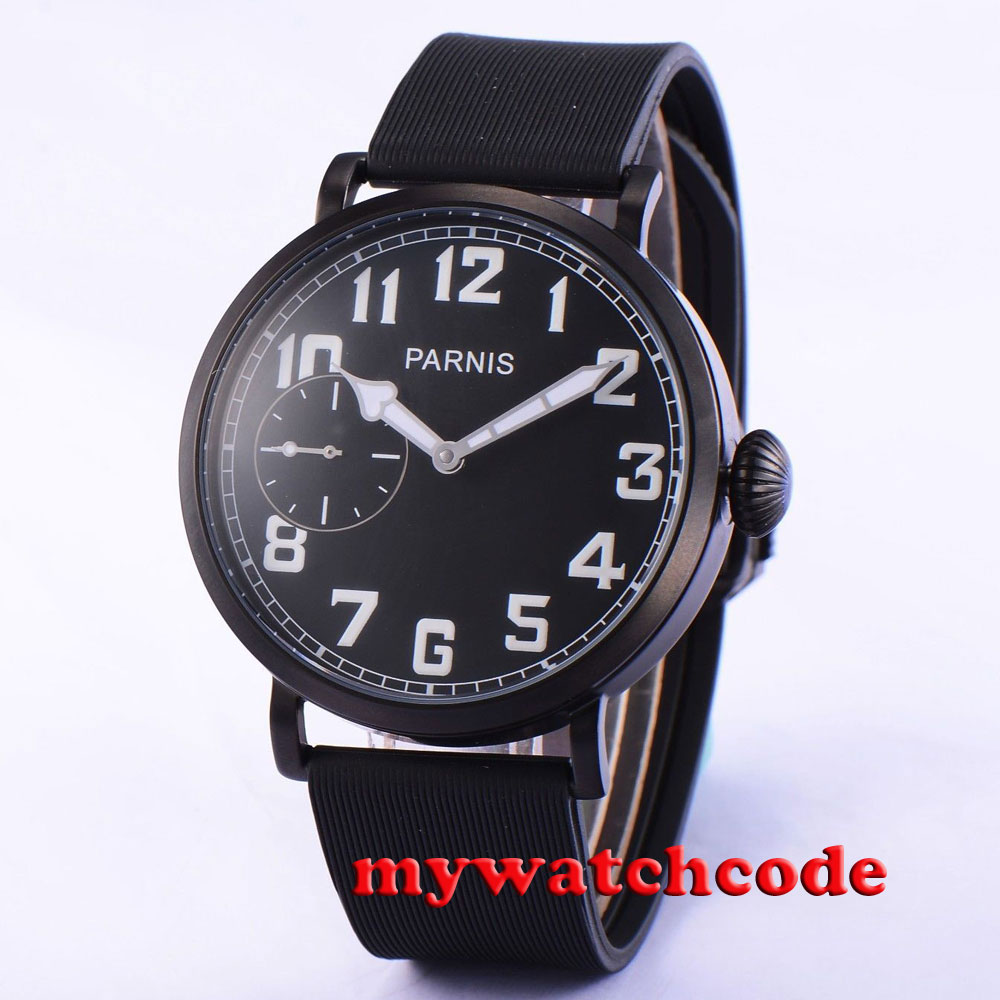 46mm parnis black dial PVD case 17 jewels 6497 hand winding mens watch P874 46mm parnis black dial rose gold 17 jewels 6497 hand winding mens watch p546
