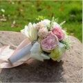 2017 Nova em estoque Lindo Handmade flores Colorido Da Dama De Honra Do Casamento Buquês de Noiva Rosa artificial Buquê De Casamento