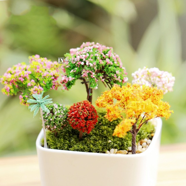 Mini Ordre $5 Micro Fée Jardin En Pot Mousse Décoration Mini Artificielle  Fleur Cerise Saules Arbres