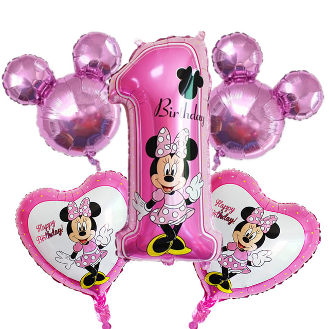 1set Mickey Minnie Mouse Foil Balloons Happy Birthday 1st Number Balloon Party Decorations Kids Toy Globos Supplies Baby Shower