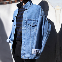 Spring 2017 men's Japanese joker coat in Europe and the leisure punk contracted personality light blue denim jacket Package mail