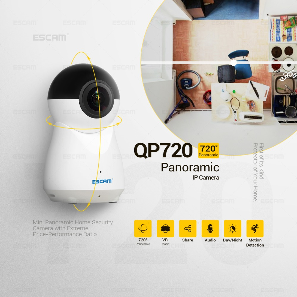 ESCAM QP720 2MP 1080P Motion Detection 720 Degree WIFI IP Camera ESCAM QP720 2MP 1080P Motion Detection 720 Degree WIFI IP Camera