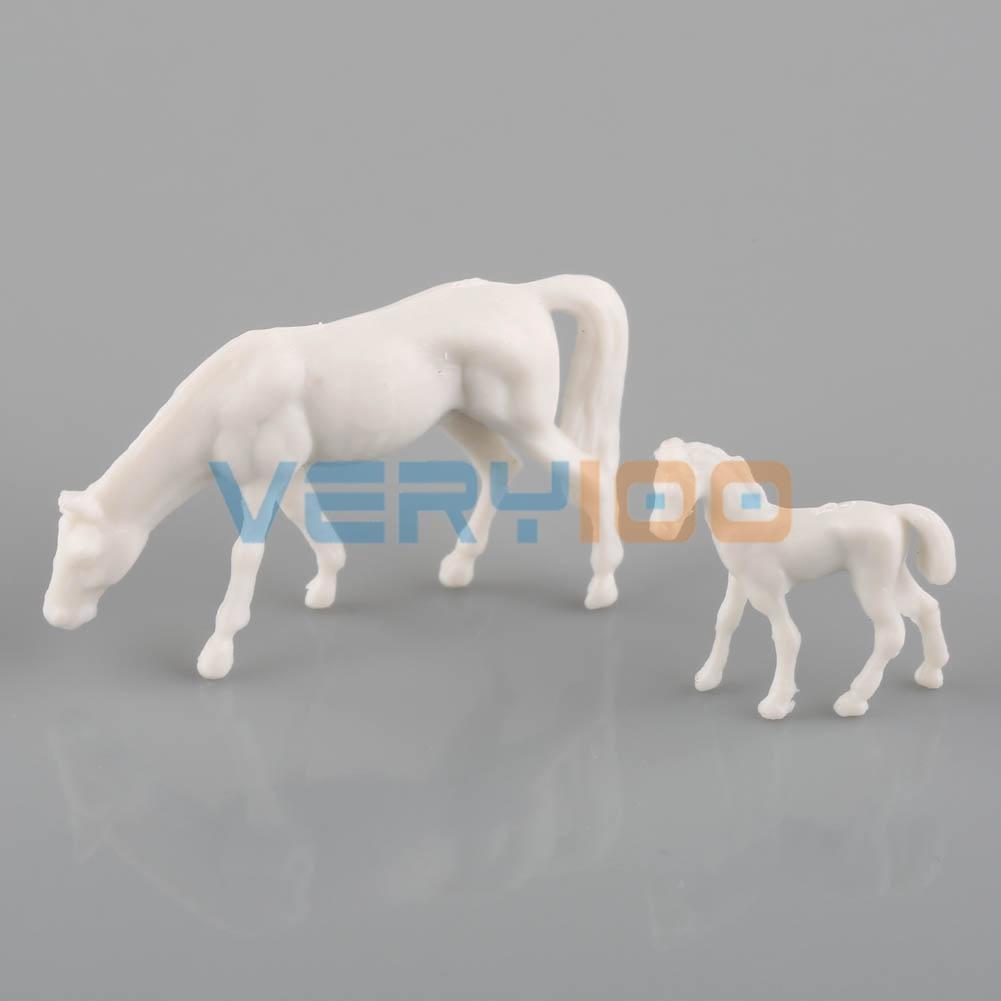 50pcs 1:87 UnPainted White Farm Animals Horses Poses HO Scale