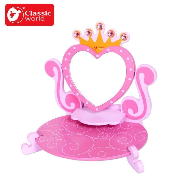 755641 руб классический мир розовый принцесса зеркало деревянная игрушка для малышки детская ролевые игры тщеславие туалетный столик игрушки мебель