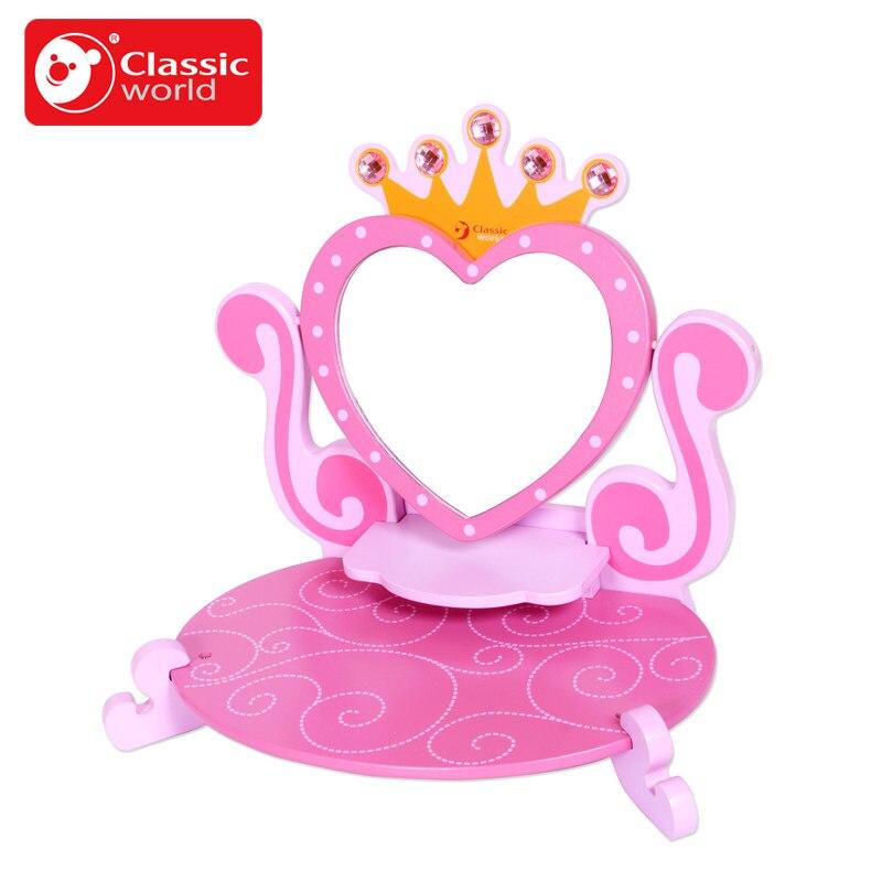 Classique monde rose princesse miroir en bois jouet femme bébé enfant semblant jouer vanité coiffeuse jouets meubles pour fille