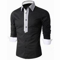 2016 שמלות חולצות מזדמנים mens אסיה גודל clothing חברתית שרוול ארוך מותג בוטיק מערבי כותנה לבן שחור