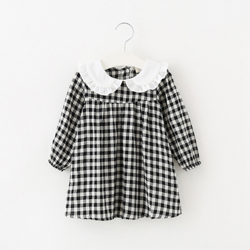 Plaid girls dress 2 color casual toddler girls clothing 2018 spring autumn children costumes 1 2 3 4 baby girl princess dresses children s spring and autumn girls bow plaid child children s cotton long sleeved dress baby girl clothes 2 3 4 5 6 7 years