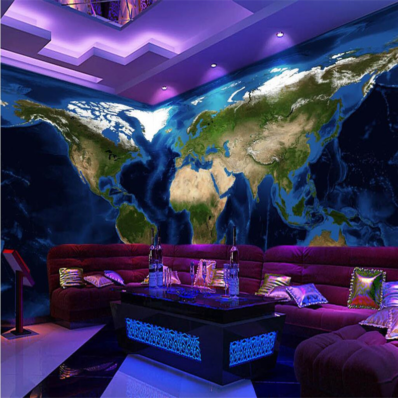 photo wallpaper silk cloth painting HD real topographic map of the world sofa decorative wall painting 3d large mural wallpaper 30 millennia of painting