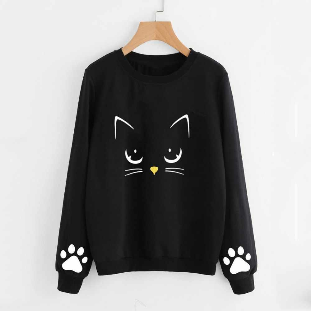 2018 Autumn Winter Women Hoodies Cat Print O Neck Sweatshirts Long Sleeve Regular Blouse Tops Female Casual Pullover