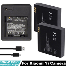 2pcs 3.7V 1010mAh XiaoYi Rechargeable Li-ion Battery +USB 2 sides Charger for Xiaomi Yi Sports Action Camera Replacement Battery стоимость