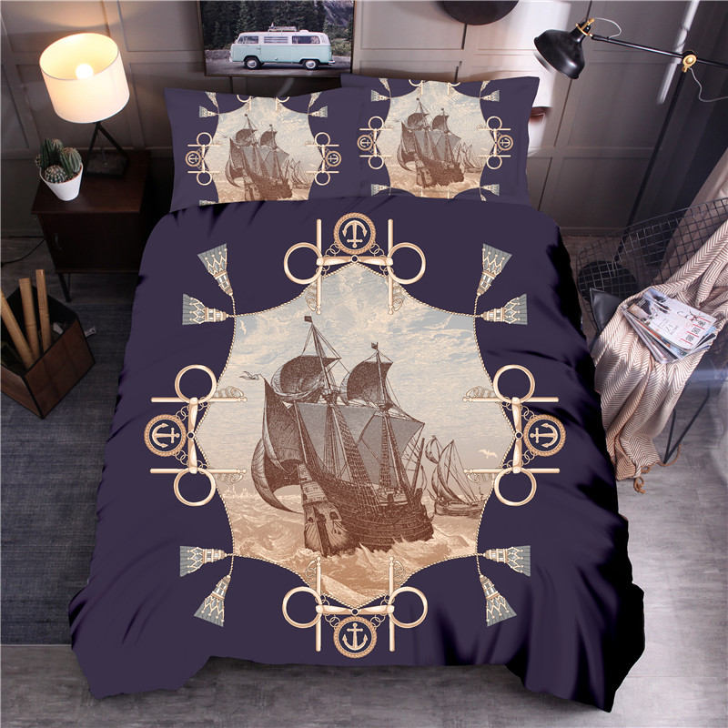 Sailboat Printed Bedding Set Animal Duvet Cover Sets Queen King Quilt Cover Bed LinenSailboat Printed Bedding Set Animal Duvet Cover Sets Queen King Quilt Cover Bed Linen