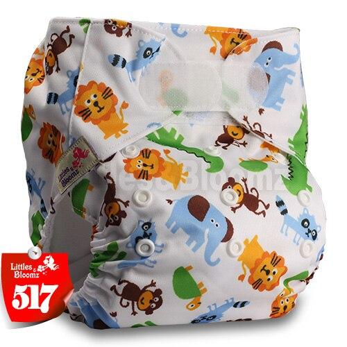 [Littles&Bloomz] Один размер многоразовые тканевые подгузники Моющиеся Водонепроницаемые Детские карманные подгузники стандартная застежка на липучке - Цвет: 517