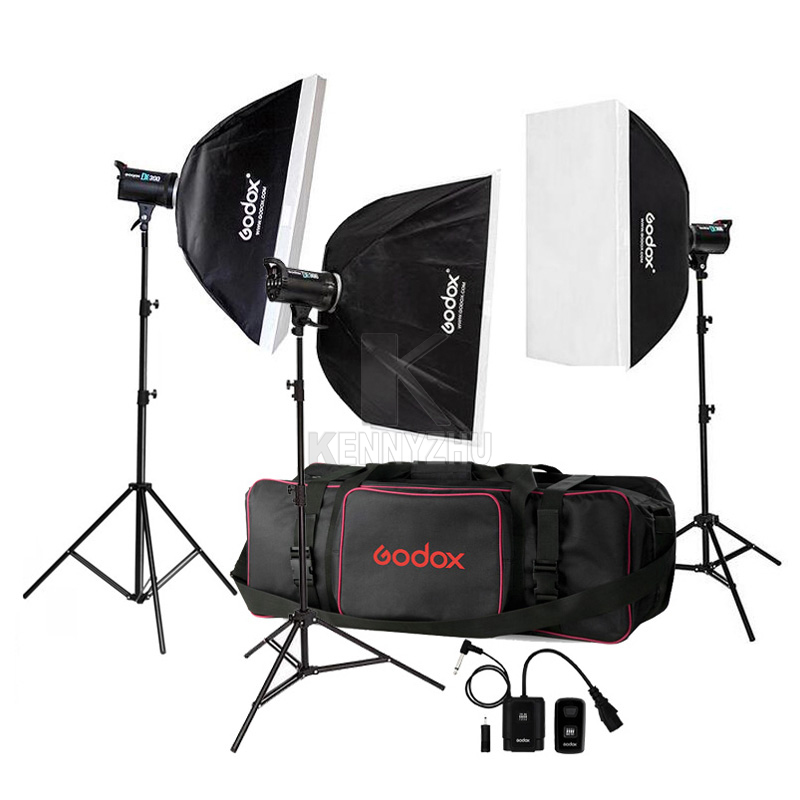 Free DHL 110V 220V Godox DE300 900W 3x 300W 300WS Studio Flash Light Strobe Lighting Kit