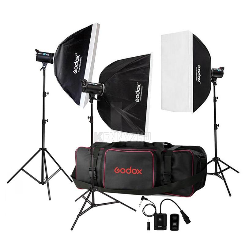 bilder für Freies dhl 110 v/220 v godox de300 900 watt/3x300 w 300ws studio Blitzlicht Strobe-beleuchtung Kit + 70x100 cm Softbox + Lichtstativ + tasche