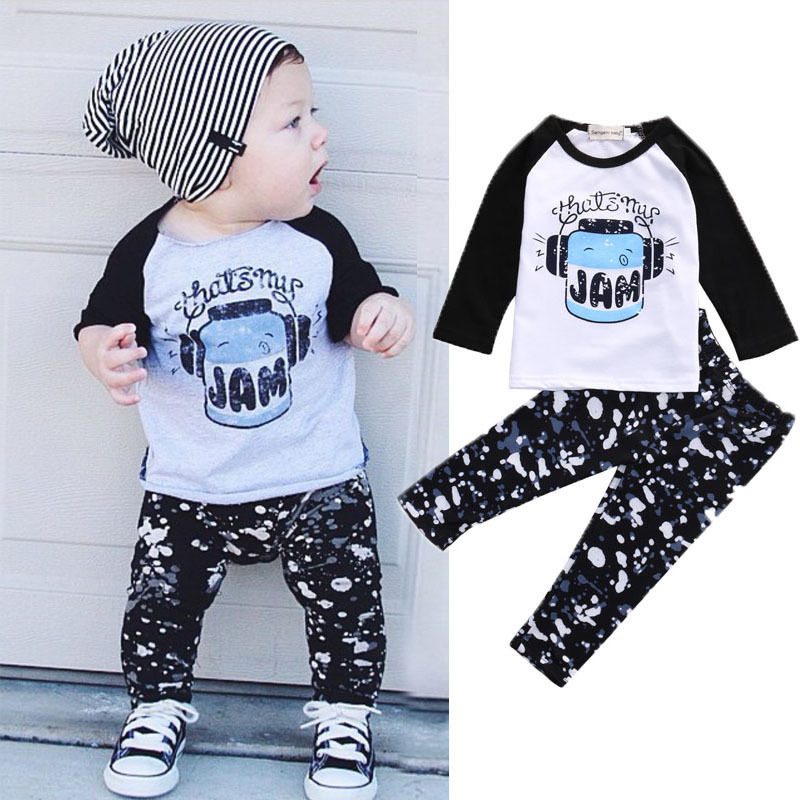 1c7168a09442 Autumn Newborn Toddler Infant baby girl clothes cotton long sleeve letter t  shirt+pants kids 2pcs suit baby boy infant clothing-in Clothing Sets from  Mother ...