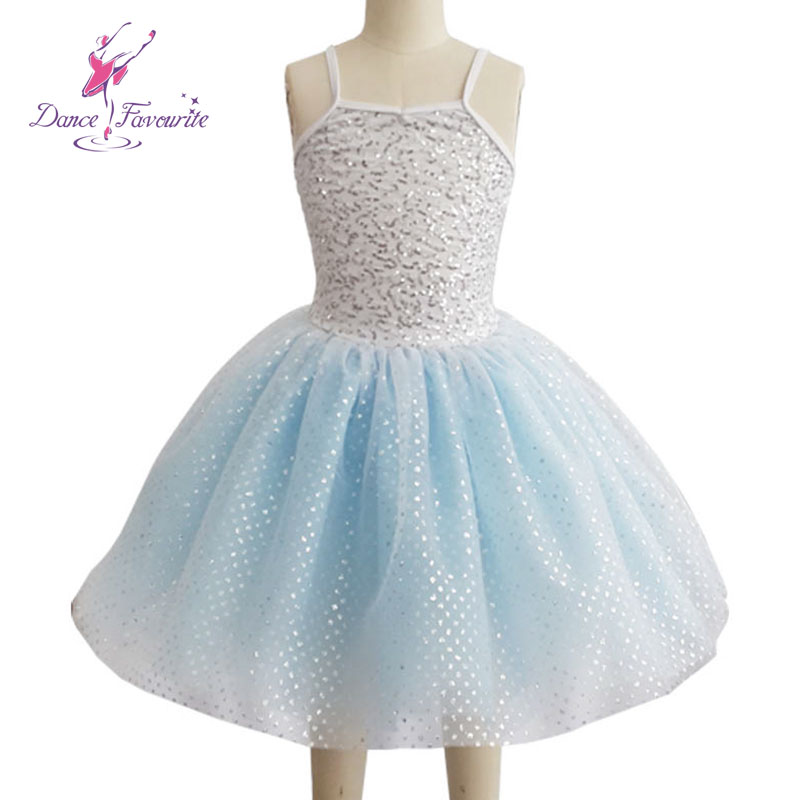 Child pale blue romantic ballet tutu with stretch sequin lycra body top, women ballet tutu ballerina dance tutu