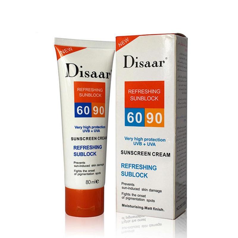 Disaar Protetor Solar Sunscreen Cream Spf 90 ++ Moisturizing Skin Protect Sunblock 80g Face Care Prevents Skin Damage Remove