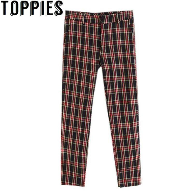 2018 Women Red Plaid Pants British Style Retro Vintage Checker Pattern Trousers 1