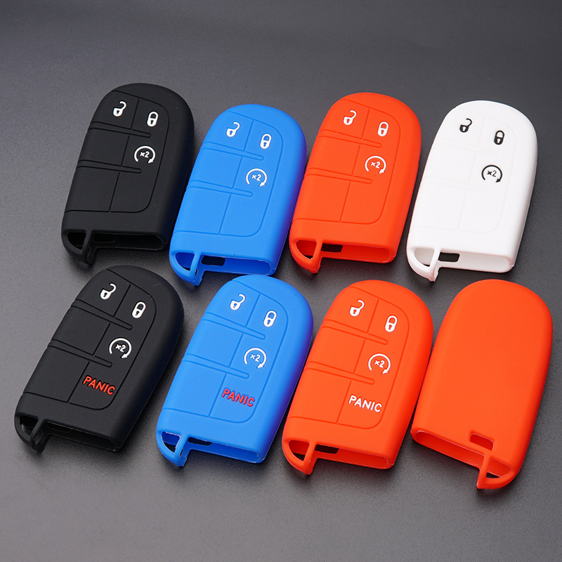 Silicone Smart Key Remote Fob Cover Jacket Case Skin for Jeep Grand Cherokee Chrysler 300 Dodge Durango Charger Challenger Journey 2 Qty