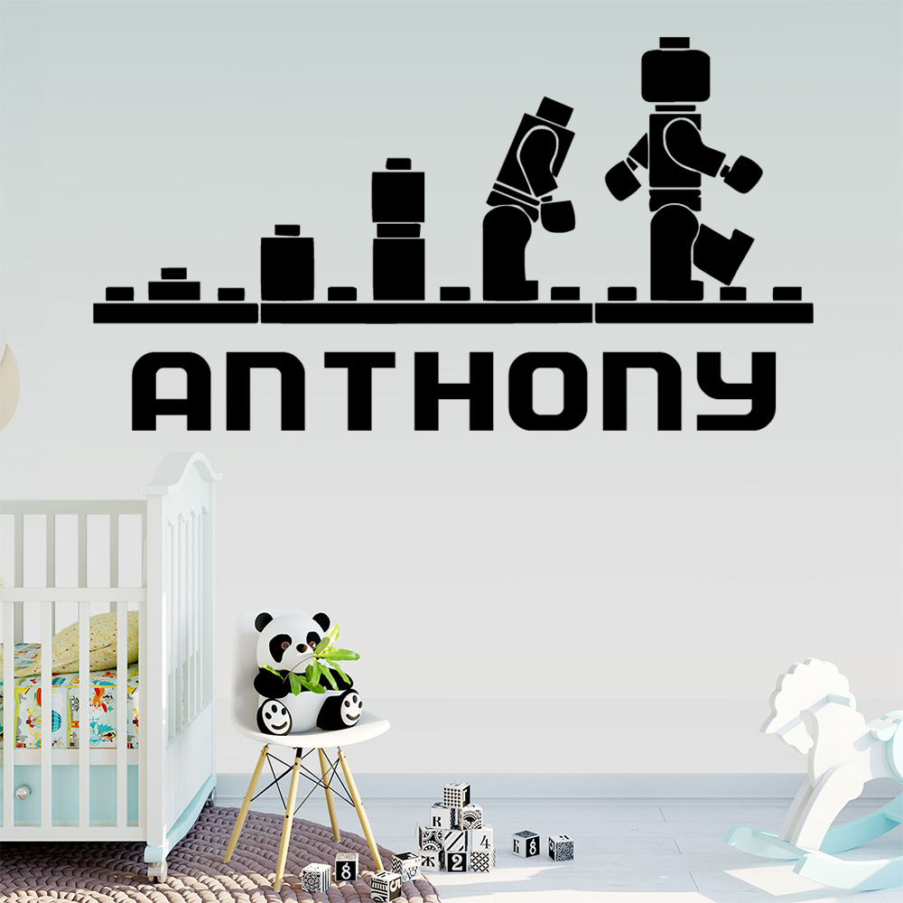 LEGO Personalized Custom Babys name Vinyl Wall Sticker For Baby's Rooms Kids Room Decoration Decal Stickers Murals wallstickers
