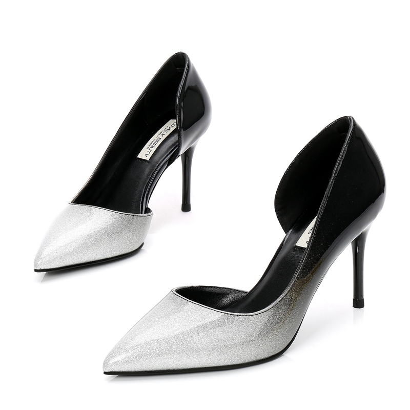 Plus Size Women 8CM Pointed Toe Patent Leather Pumps Woman Stiletto Thin High Heels Sexy Ladies Nightclub Party Shoes E0015 in Women 39 s Pumps from Shoes