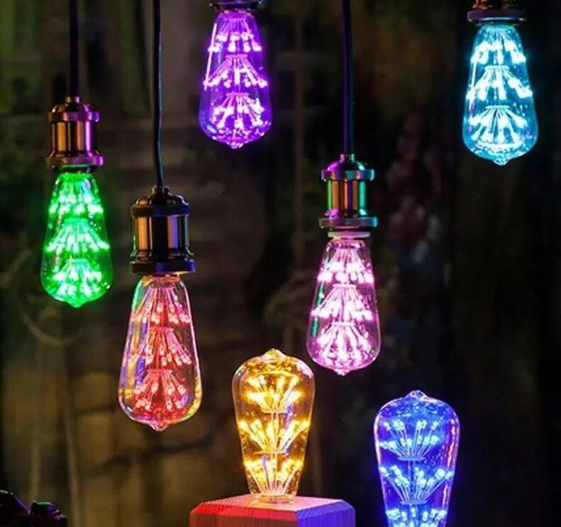 Lámpara Led ST64 colorido cielo estrellado lámpara e27 110 V-220 V bombillas led 3 W fuegos artificiales globo lampada led para la decoración del partido casero lamparas