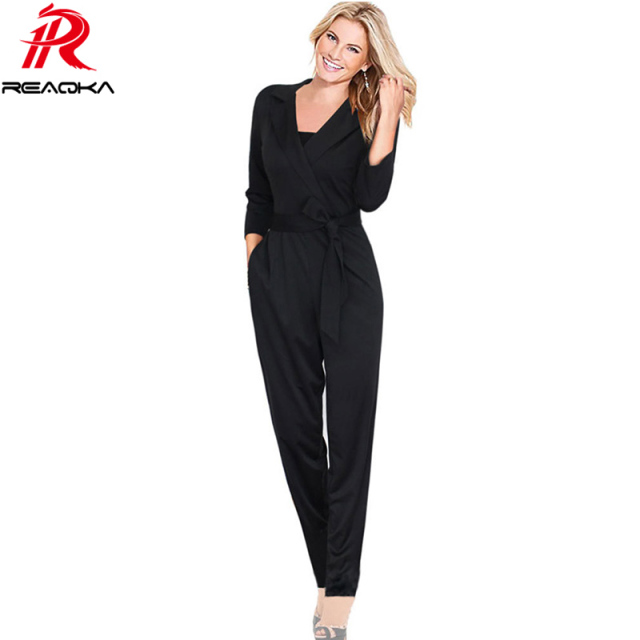 4858d553c3e Elegant Jumpsuits For Women 2018 New Arrivals Autumn Winter Casual Bodysuit  V-neck Belt Long