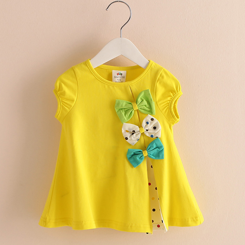 T-shirt Baby Girl 2018 New Fashion Dot Cute Bow Short Sleeve O-neck Kids Summer Blouse Baby Girls Clothes 2823W