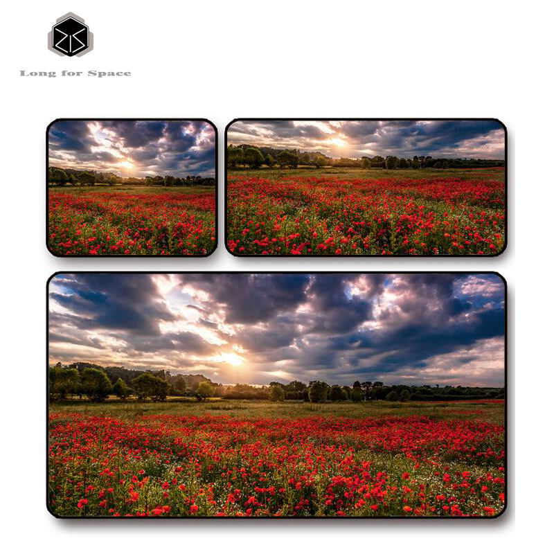SJLUHS Red Flower plants mouse pad lock edge creative large thickening game keyboard table mat Free Shipping
