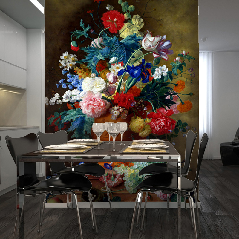 2016 new best selling wallpaper oil painting large murals wall paper on sale porch corridor european-style non-woven wallpaper free shipping european 3d relief murals aisle porch corridor classical style wallpaper rich tree rose vase mural