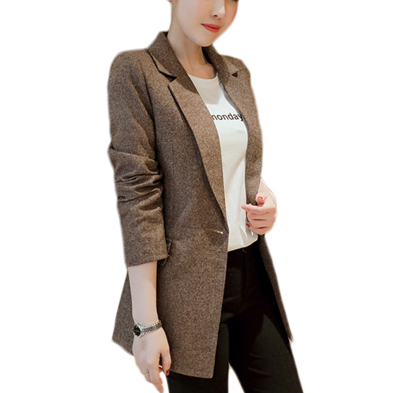 Casual vintage striped Women Blazer Jacket Notched Collar Single buckle OL Suit Coat Fashion Outerwear blazer