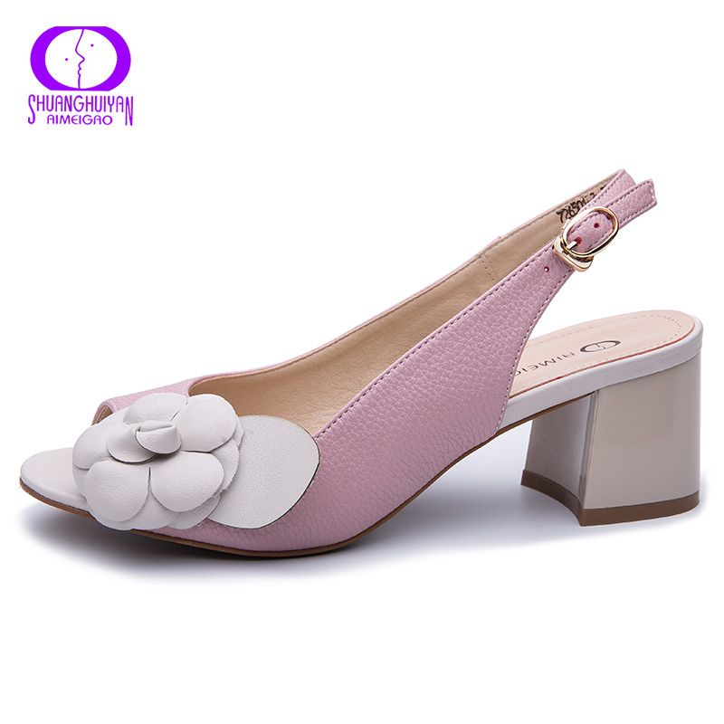 AIMEIGAO Buckle Strap Chunky Heels Sandals Women 2019 Summer Flowers Gladiator Leather Sandals Shoes Women Comfy Platform Shoes