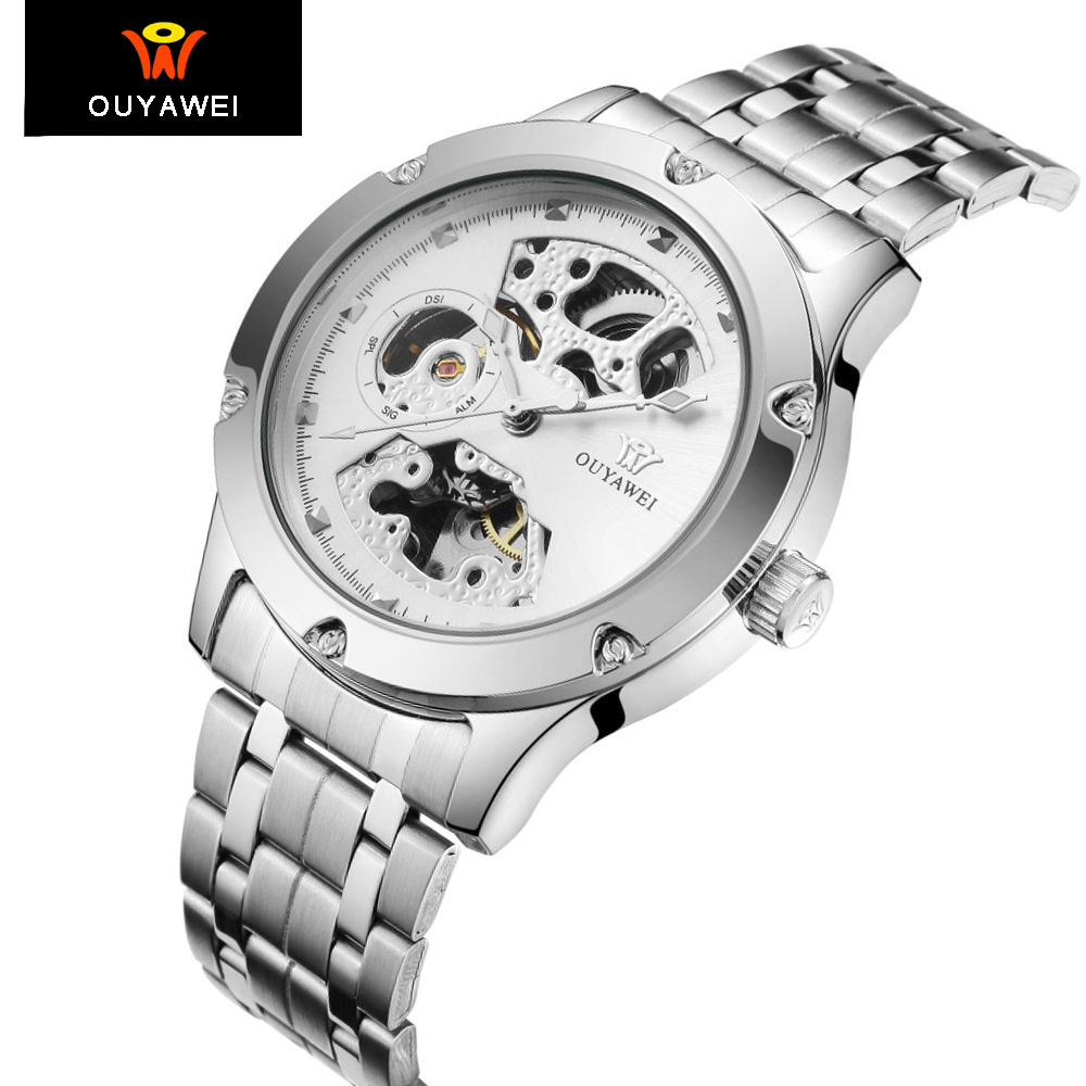 Ouyawei Men's Automatic Silver Full Steel Watch Men with Skeleton Dial Mechanical Self Wind Fashion Casual Metal Wrist Watches  цена