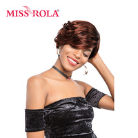 Miss Rola Short Straight Synthetic Wigs 6 Inch Heat Resistant Kanekalon Wigs 1Pcs Black Wigs With Bangs DX2730# 3 Colors