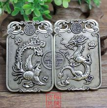 Collection Tibet silver Round dragon and Phoenix brand Pendant /1