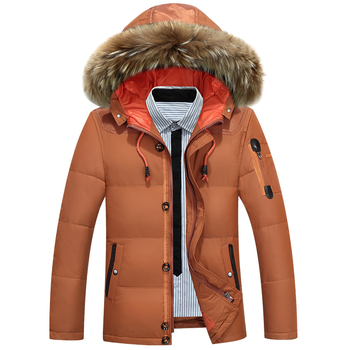 winter children 80% white duck down jacket boys girls warm real fur collar hooded snow coat parka kids thick outerwear coat e249 2020 New Brand Winter Jacket Men Big Size 3XL 4XL Real Fur Collar Hooded White Duck Down Jacket Thick Down Jackets Men Warm Coat