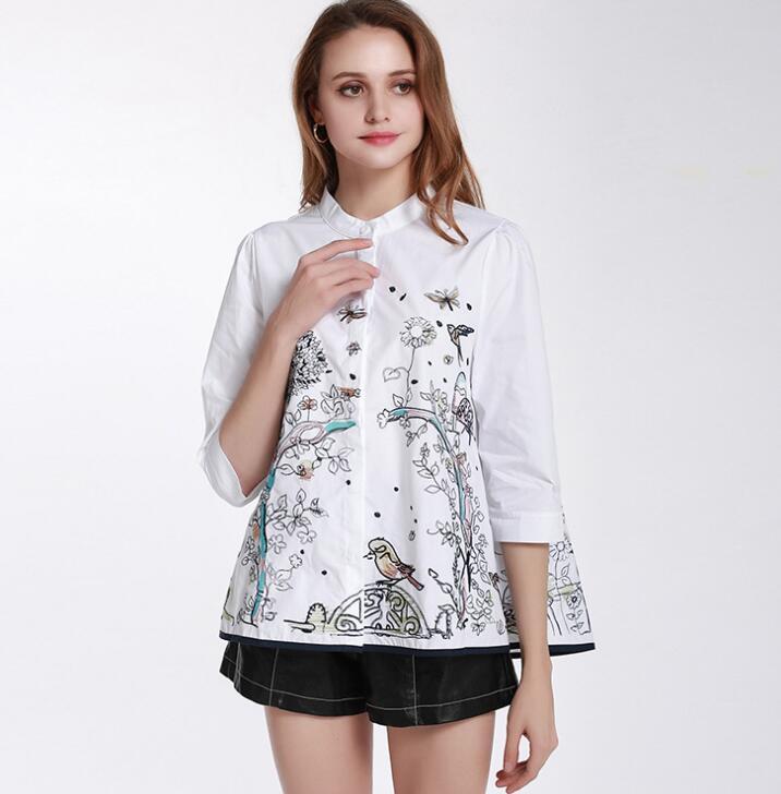 Women s spring autumn casual loose white cotton shirt lady s embroidery white blouse TB339
