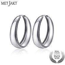 MetJakt Classic Real 925 Sterling Silver Vintage Hoop Earrings for Women's Retro Ethnic Style Fine Jewelry цены онлайн